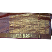 Violet Silk and Shiny Gold Sari Fabric India