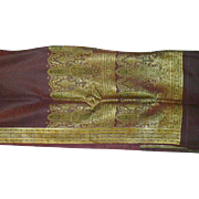 Maroon Silk Satin Sari With Black Decorations Woven Allover and Fancy Pallou India Fabric