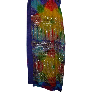 Multicolor Silk Sari With Gold Sequine Tie Dye Style fabric India