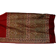 Red Silk Charmeuse Satin Sari With Elaborate Paisley Pallou and Borders India Fabric