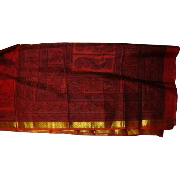 Red Black Shiny Gold Tie Dye Pure Silk Sari Fabric India