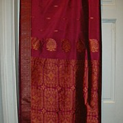 Vintage Indian Sari Fuschia & Copper Design Fine Textiles Fabric of India
