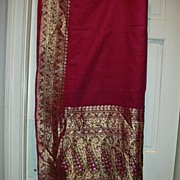 Vintage Indian Sari Fuschia Silk With Gold Zari & Green Fine Textiles Fabric of India