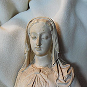 Virgin Mary french Pipe Clay Large Statue Rare