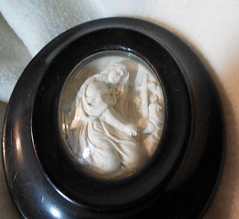 Carved Pipe Clay Cameo Art  Mary Magdalene Religious Scene