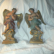 Pair Antique Italian Florentine Angel Statues Figurines