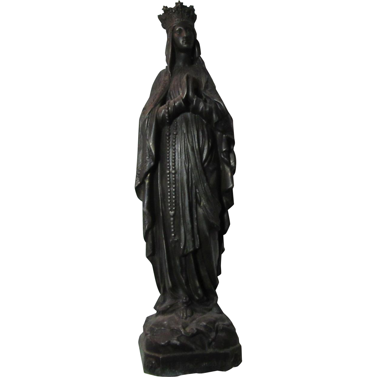 Virgin Mary Crowned  Madonna Our Lady Lourdes French Metal Old Statue Figurine