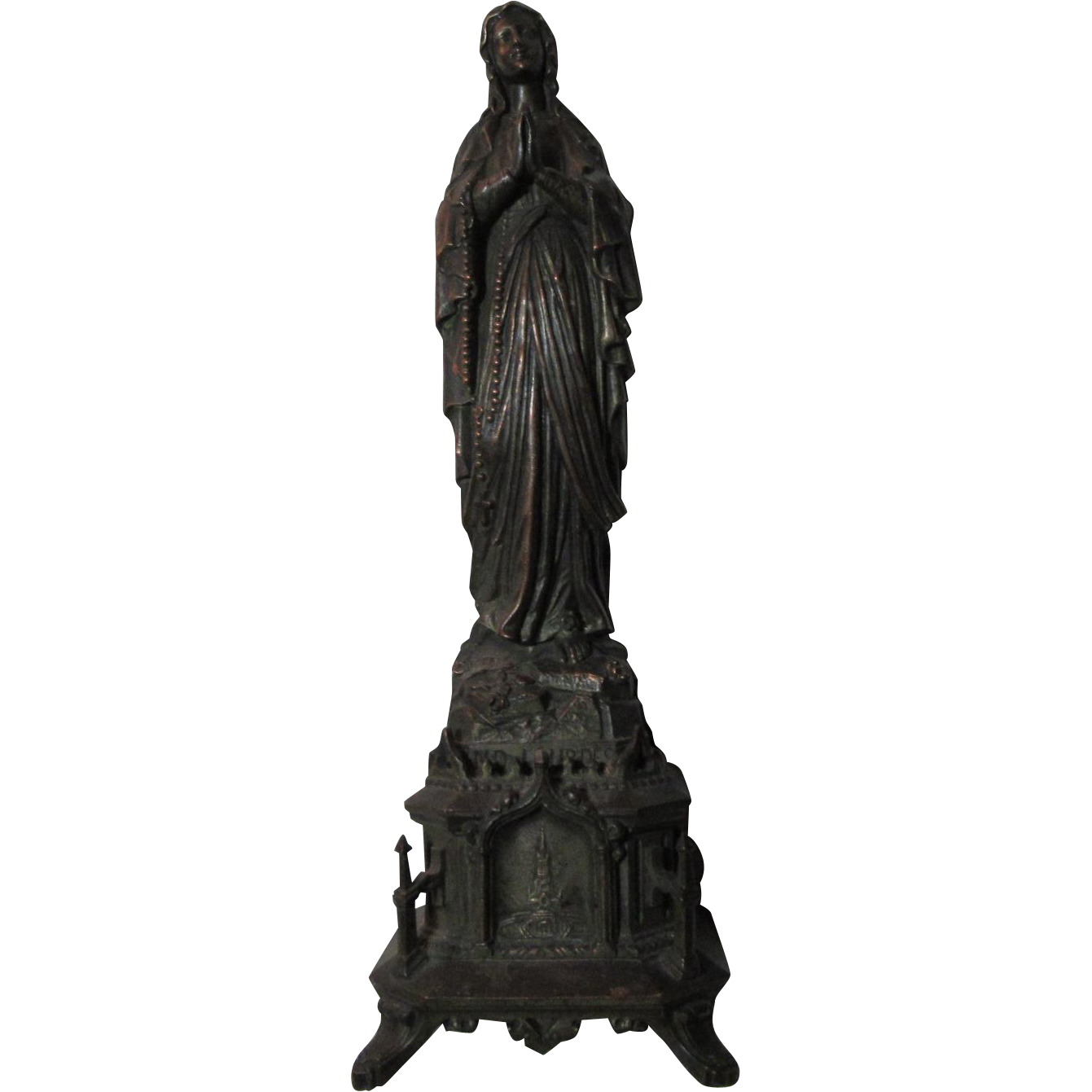 Virgin Mary Old French Madonna Our Lady Lourdes Metal Statue Figurine