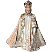 Large Infant of Prague Jesus Statue With Jeweled Crown And Robes