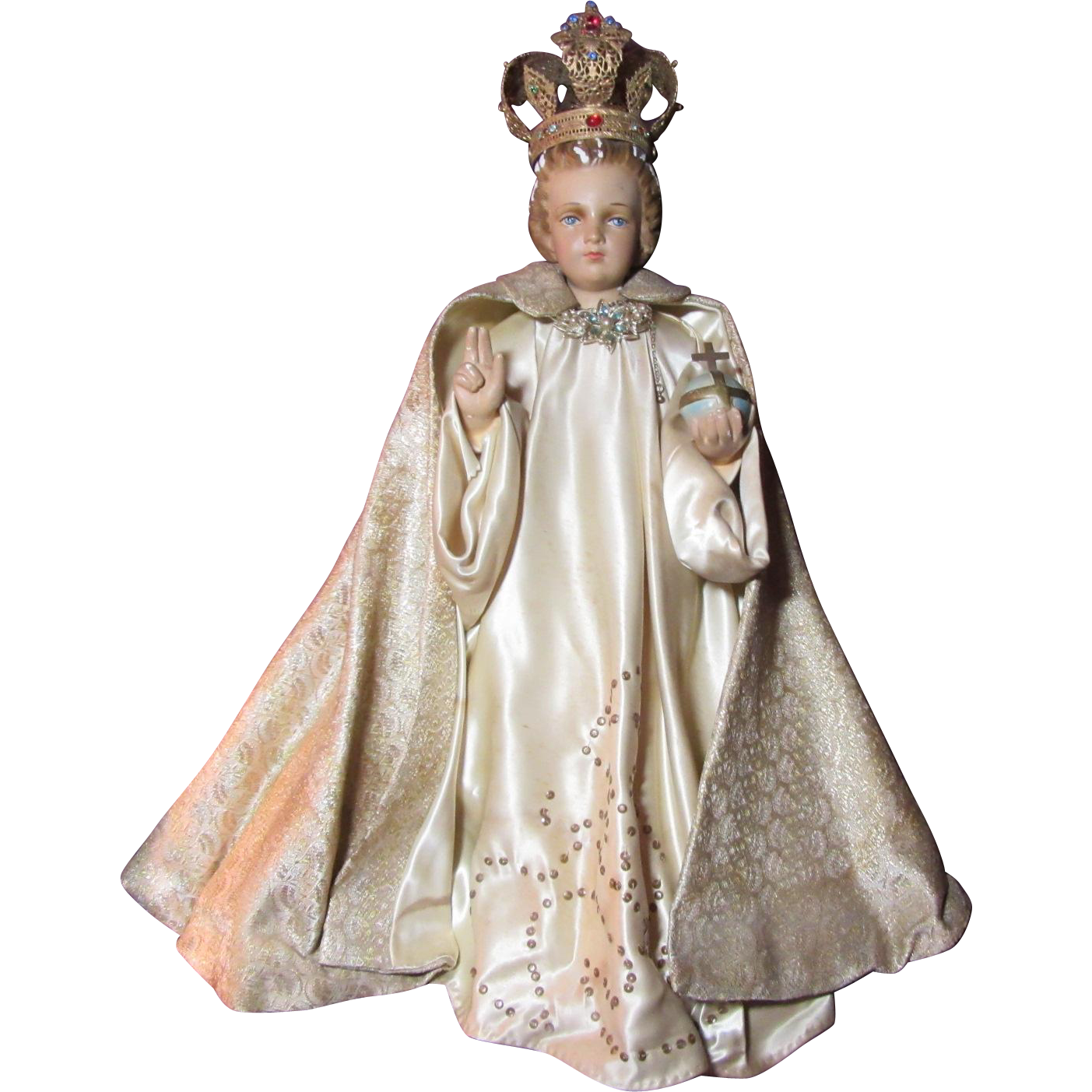 Large Infant Of Prague Jesus Statue With Jeweled Crown And