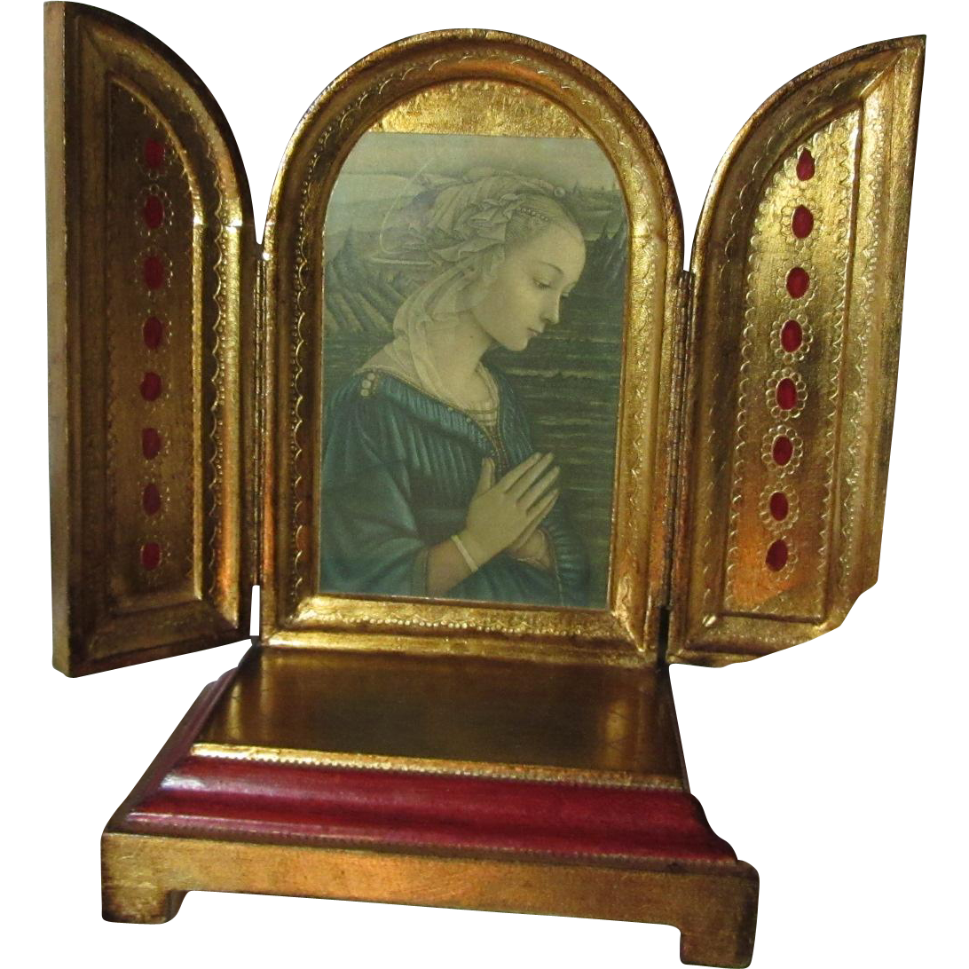 Florentine Style Music Box With Virgin Mary Triptych Plays Ava Maria