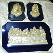 Old Virgin Mary Our Lady & Jesus & Last Supper 3 Pc Wall Plaques On Electric Blue Art Deco Style Glass Fine Catholic Christianity USA Statuary Art