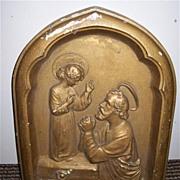 St Joseph & Child Jesus Chalk Ware Plaque Fine Catholic Christianity Art