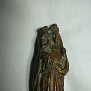 St Anne & Virgin Mary Old French Metal Statue Fine Catholic Christianity Religious Figurine