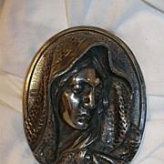 Virgin Mary Silver Head Plaque Medallion Fine Catholic Christianity Religious Metalwork Art