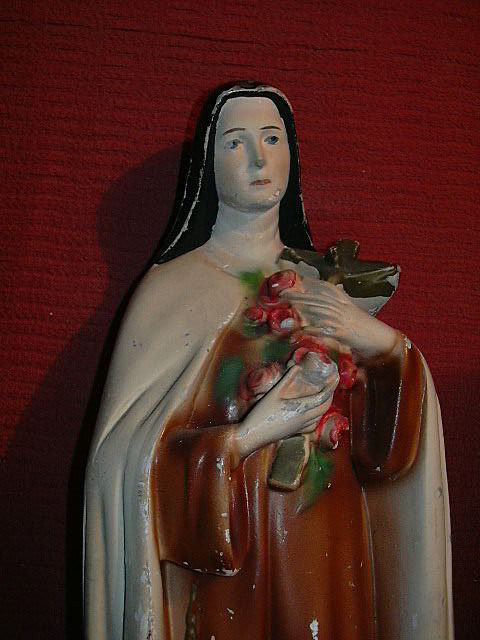 St Therese Lisieux Little Flower of Jesus Chalk Ware Statue Fine Catholic Figurine of Beloved Saint Terese