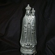 Virgin Mary Our Lady Roses Metal Old Statue Fine Catholic Figurine