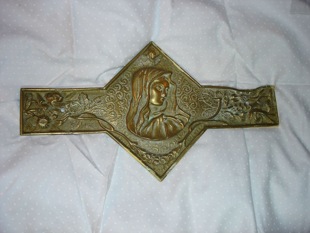 Virgin Mary Mater Dolorosa Brass Plaque  Decoration