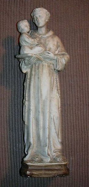 Old French Pipe Clay Statue St Anthony & Infant Jesus Religious Catholic Figurine