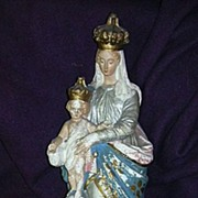 Old Crowned Virgin Mary & Infant Jesus Statue Religious Figurine
