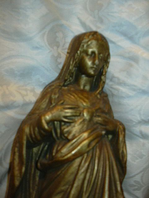 Old Gold Chalk Virgin Mary Immaculate Heart Statue