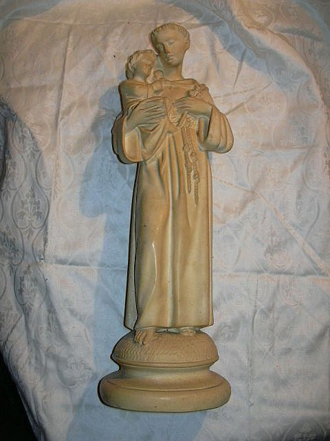 French Pipe Clay St Anthony & Infant Jesus Statue Fine Catholic Religious Figurine