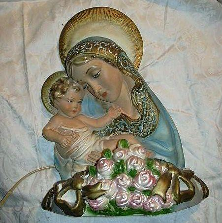 Virgin Mary & Infant Jesus Large Chalk Ware Lighted Lamp Statue Religious Figurine Madonna & Child