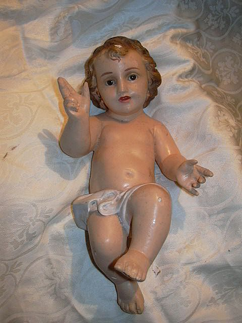 Old Chalk Ware Large Nativity Statue Infant Jesus Glass Eyes