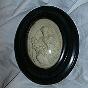 Antique Pipe Clay Carved Cameo Oval Religious Framed Art