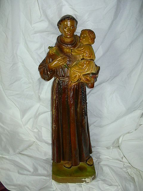 St Anthony & Infant Jesus Statue Signed