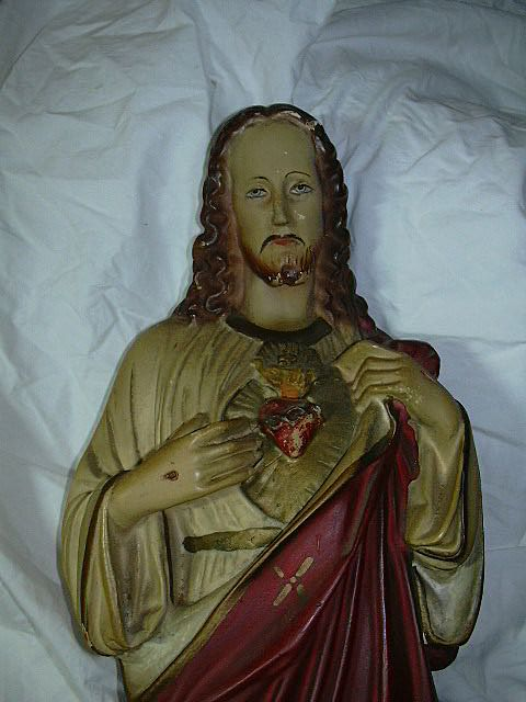 Old Large  Jesus Sacred Heart Statue