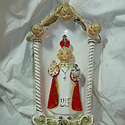 Jesus Infant Of Prague Figurine Statue With Angels Vase & Grotto