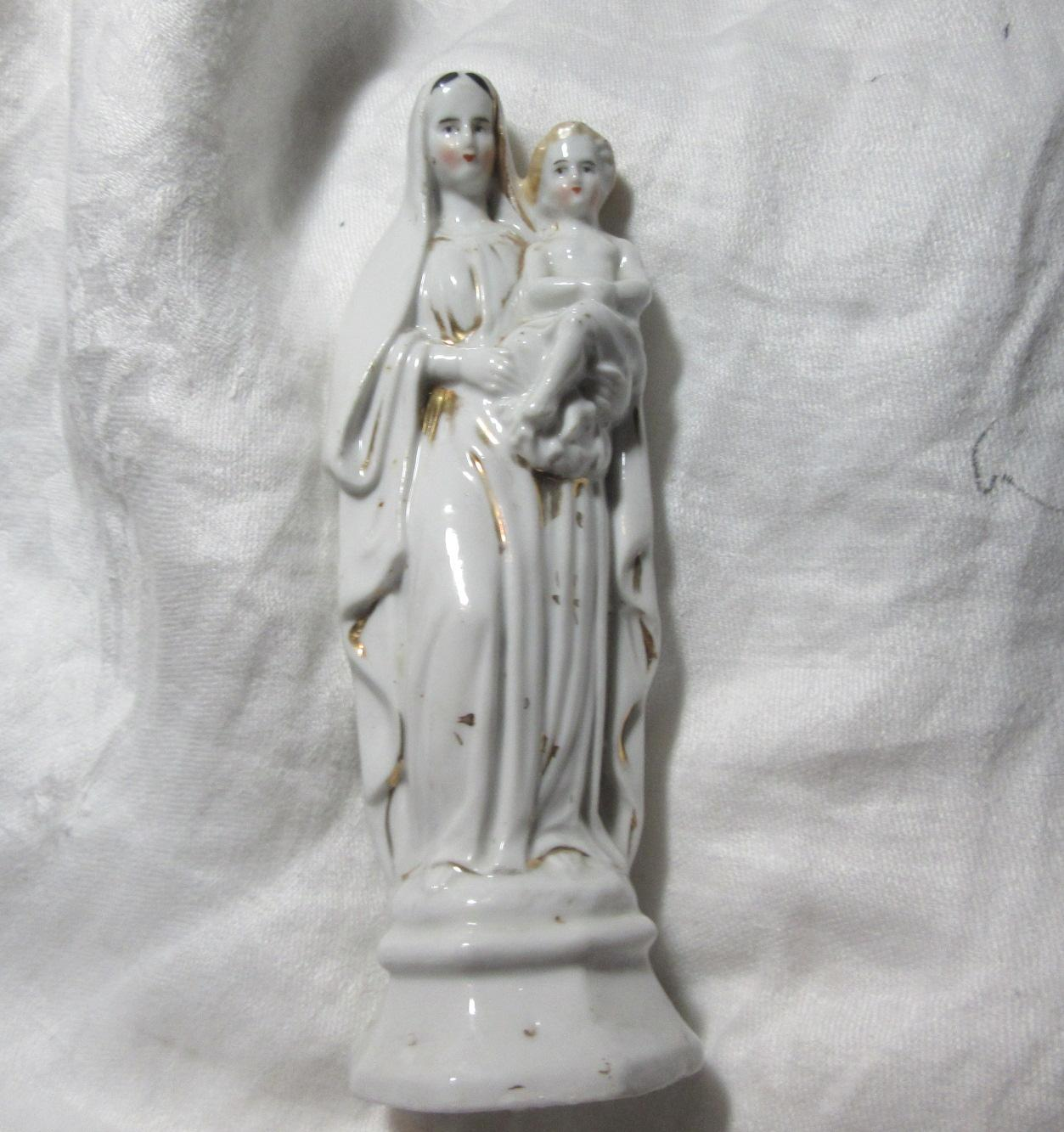 Virgin Mary Our Lady & Infant Jesus Old Figurine Statue