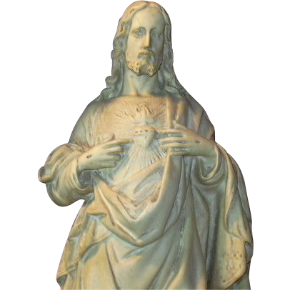 French Pipe Clay Sacred Heart Jesus Statue