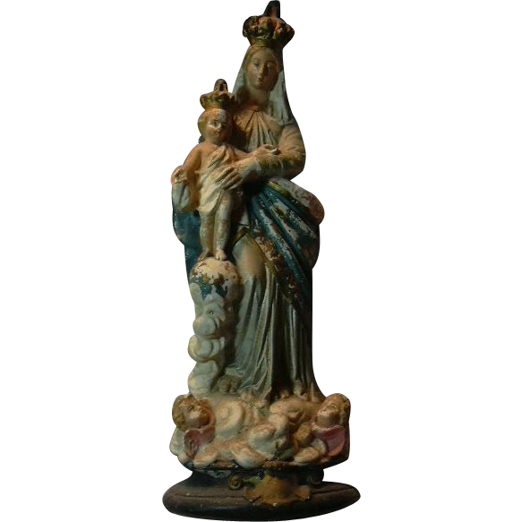 Virgin Mary Our Lady Infant Jesus French Statue