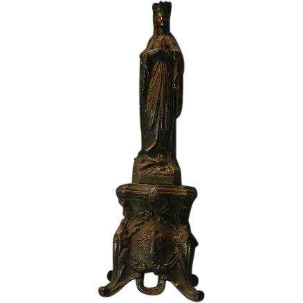 French Metal Virgin Mary Our Lady Figurine Statue