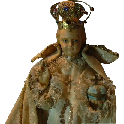 Jesus Infant of Prague Chalkware Statue With Crown & Robes