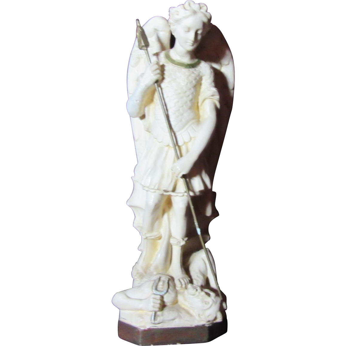 Signed Pieraccini St Michael Old French Pipe Clay Statue