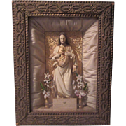 Jesus Sacred Heart Shadowbox Framed Statue Home Altar