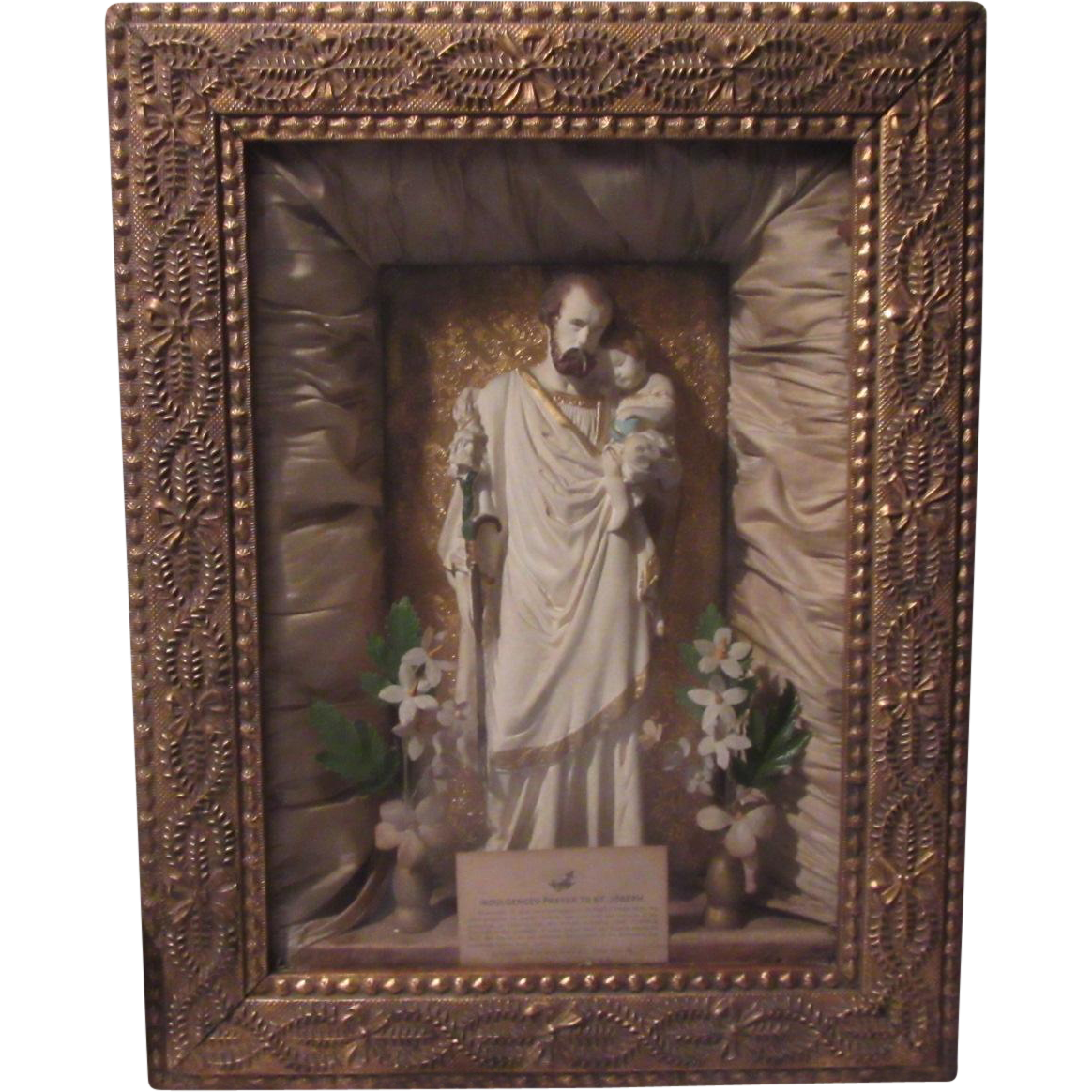 St Joseph Infant Jesus Shadowbox Framed Statue Catholic Saint Home Altar