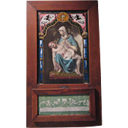 Virgin Mary Holding Jesus Pieta Statue in Viaticum Antique Box Reverse Painted Glass