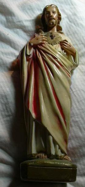 Jesus Sacred Heart Statue Old Chalk Ware or Plaster Fine Christian Catholic Figurine