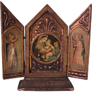 Virgin Mary Jesus Italian Florentine House Blessing Prayer Icon Triptych Religious Art Angels