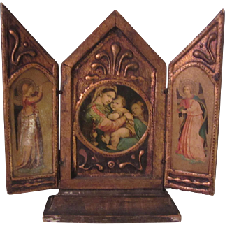 Virgin Mary Jesus Italian Florentine House Blessing Prayer Icon Triptych Religious Art Angels