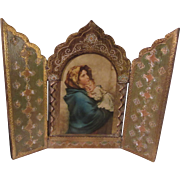 Virgin Mary Jesus Italian Florentine House Blessing Prayer Icon Triptych Religious Art