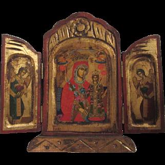 Virgin Mary Jesus Orthodox Prayer Icon Triptych Religious Art Angels