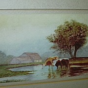 Original Watercolor  Miniature Painting  Emma Johnson Farm Scene With Cows Fine American Art