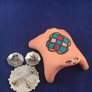 Vintage Native American Indian Navajo Earrings Brooch Pendant Set - Signed PHYLLIS