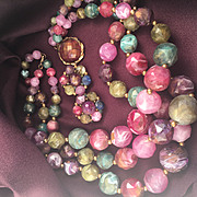 Gorgeous! Signed KRAMER Multi Strand Lucite Bead Necklace and Earrings Set