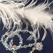 Beautiful Signed LAGUNA Opal Hued Faceted Crystal Bead Earrings and Necklace